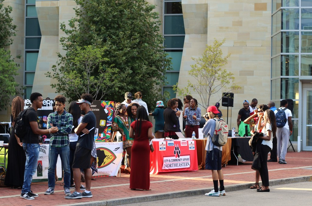 Students visit the various clubs and organizations present at the Global Fair