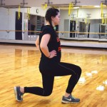Lunges: Standing with your feet shoulder-width apart, step one foot forward and bend both knees, raising your back heel but keeping your toes on the ground. Make sure your back knee doesn't touch the ground. Step back to standing and repeat, alternating sides.